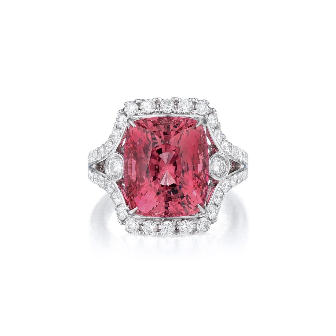A 10.19-Carat Spinel and Diamond Ring