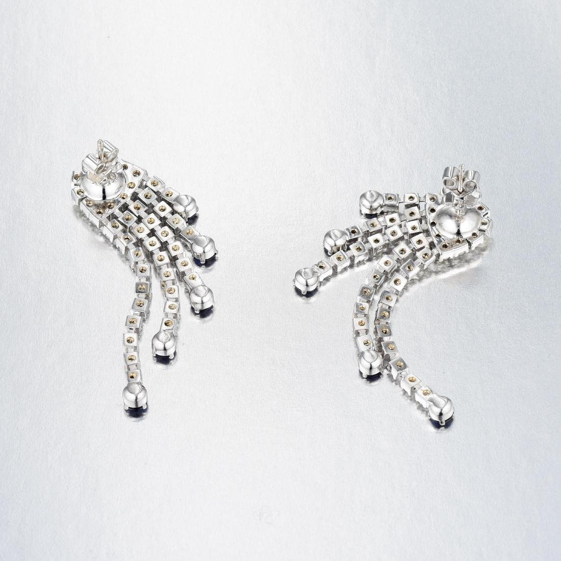 A Pair of Sapphire and Diamond Earrings - 2