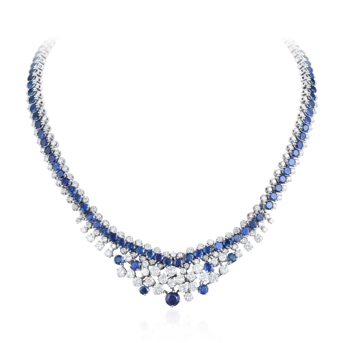 A Sapphire and Diamond Necklace and Bracelet Set - 2