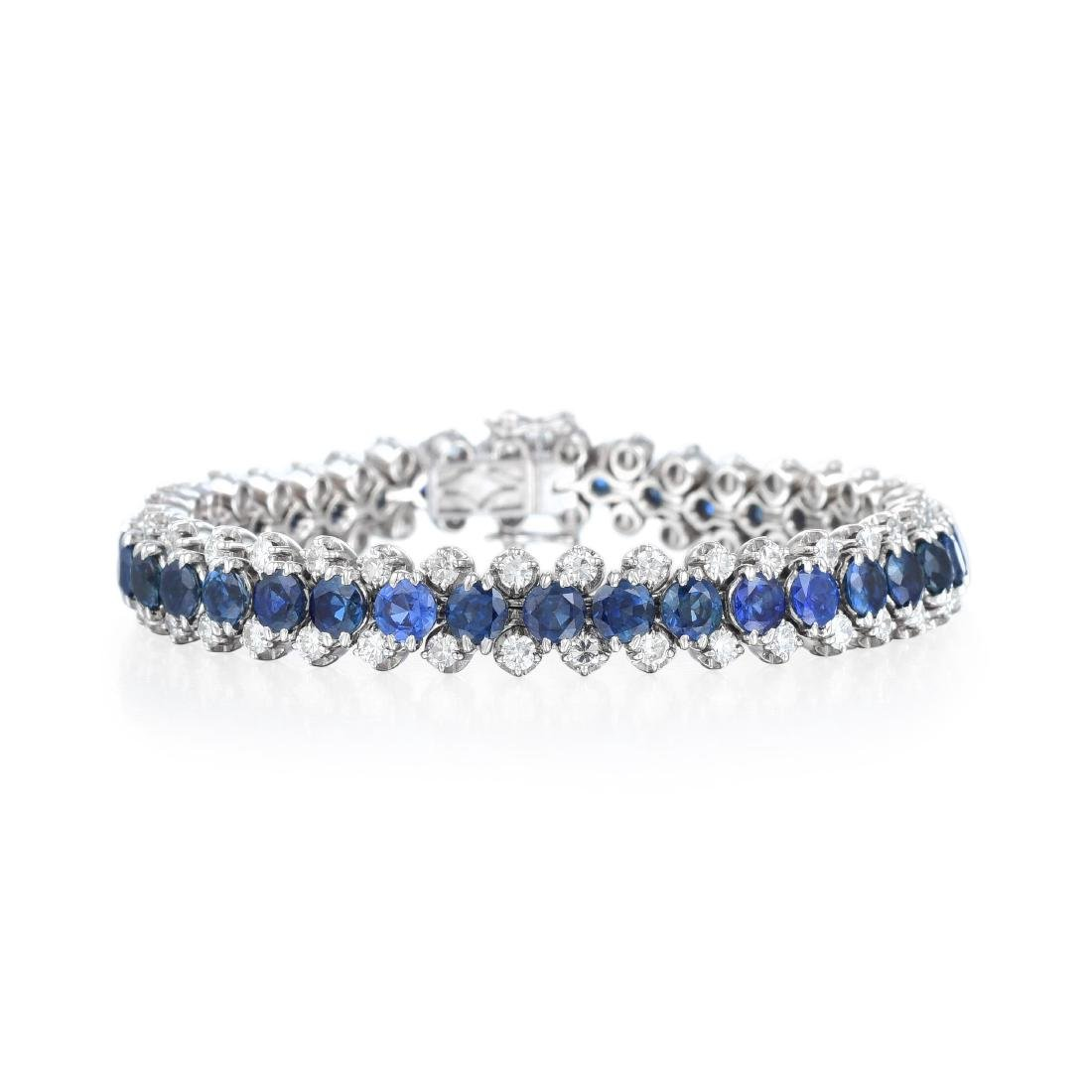 A Sapphire and Diamond Necklace and Bracelet Set - 3