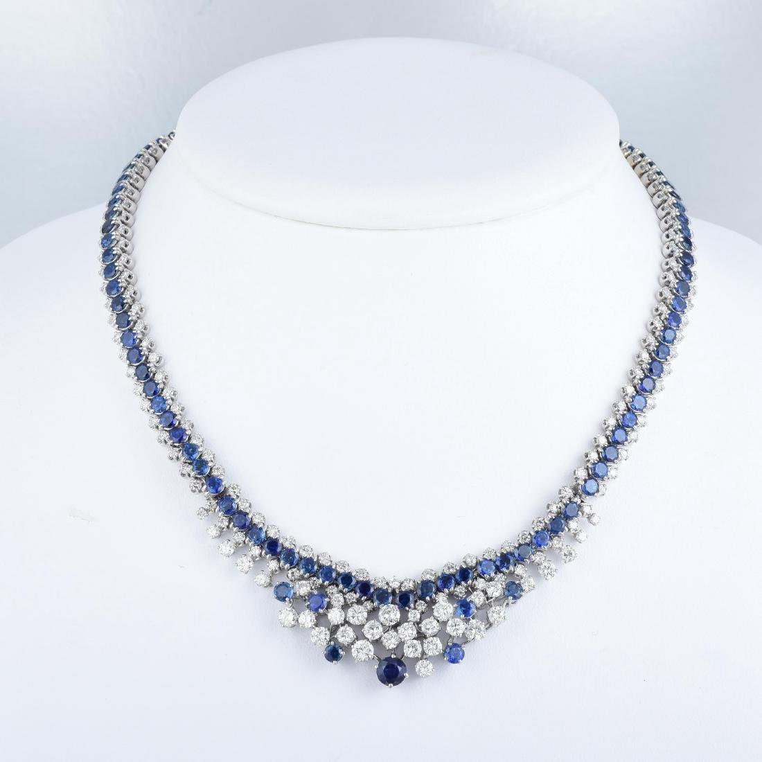 A Sapphire and Diamond Necklace and Bracelet Set - 4