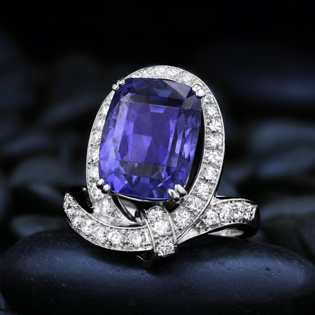 A Platinum Sapphire and Diamond Ring