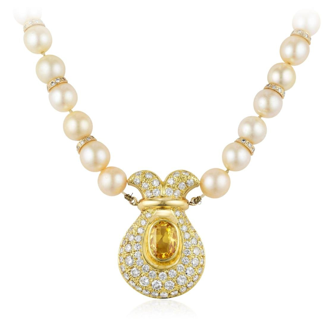 A Yellow Sapphire Diamond and Pearl Necklace