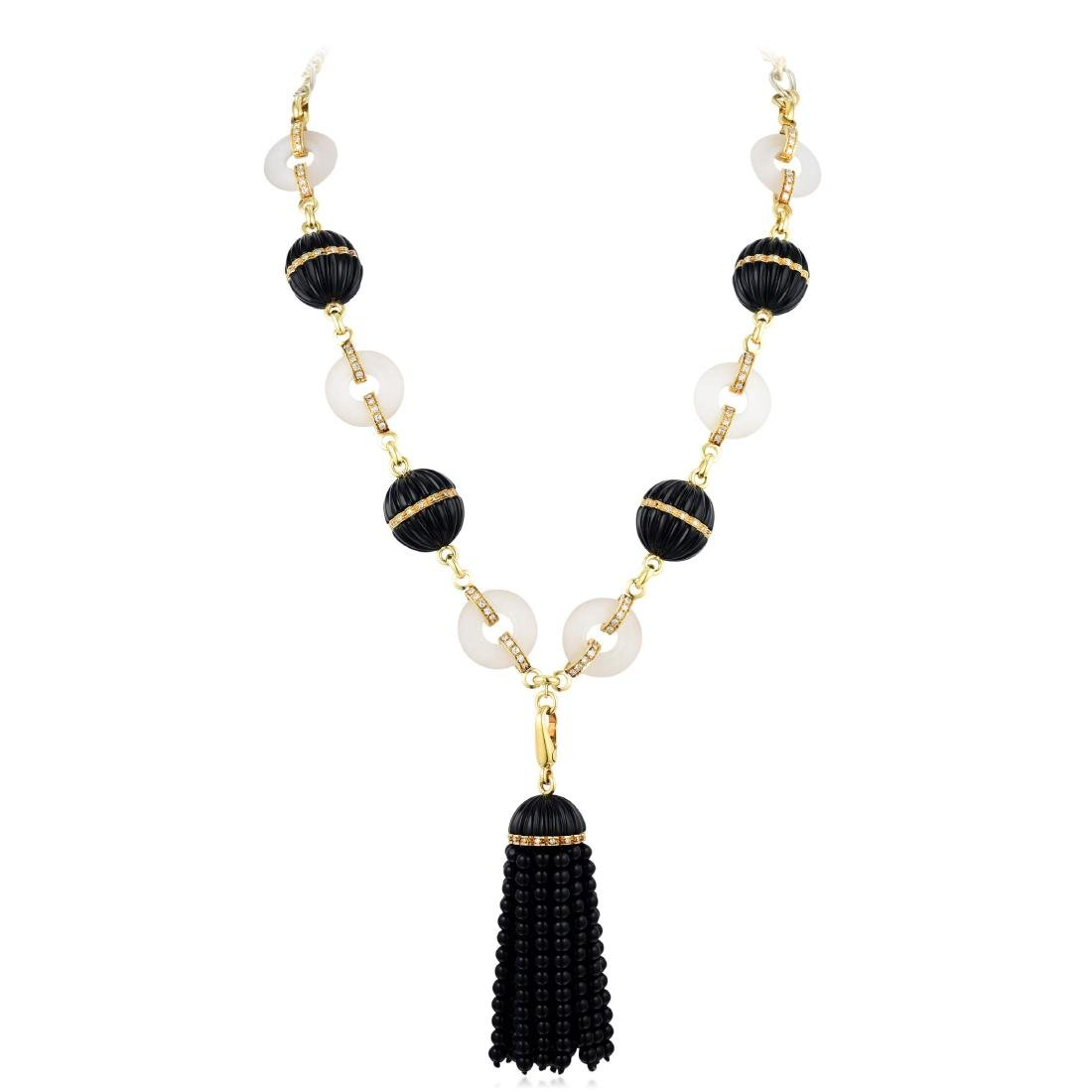 A Rock Crystal and Onyx Diamond Necklace