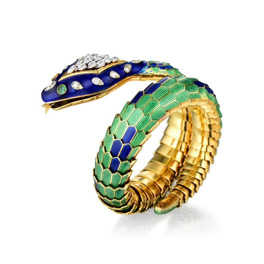 A Diamond Enamel Serpent Bracelet
