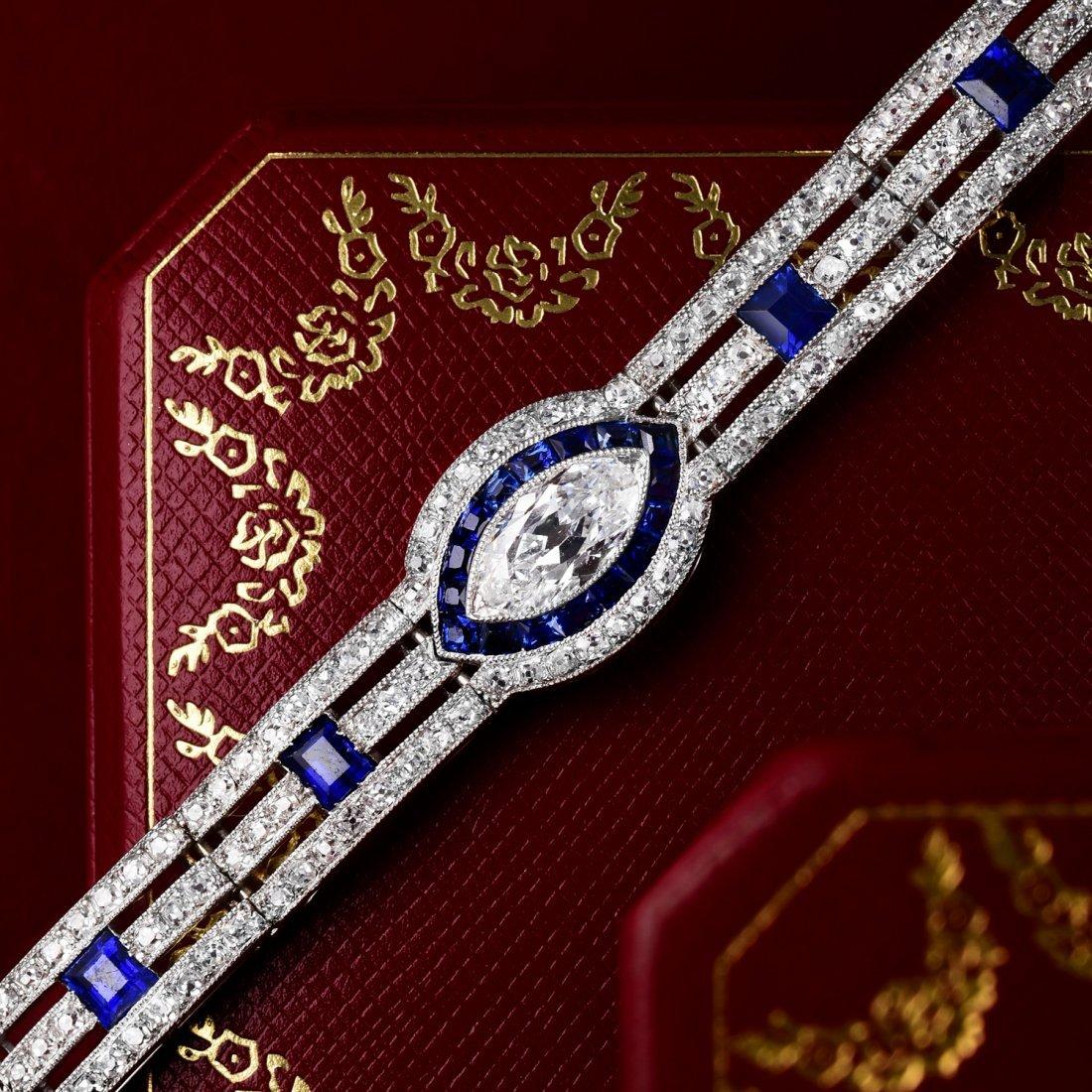 Cartier Art Deco Sapphire and Diamond Bracelet
