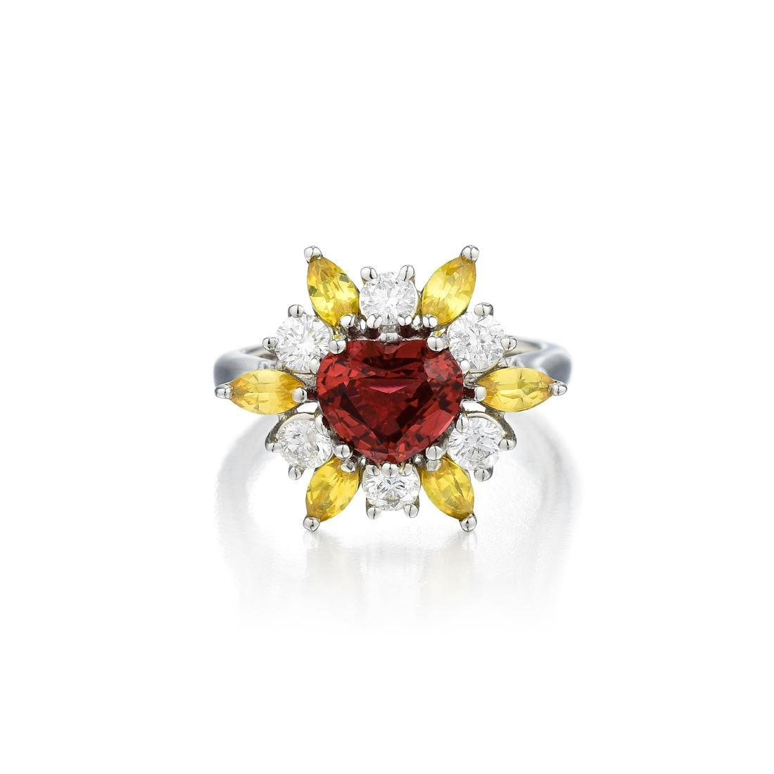A Platinum Spinel Yellow Sapphire and Diamond Ring