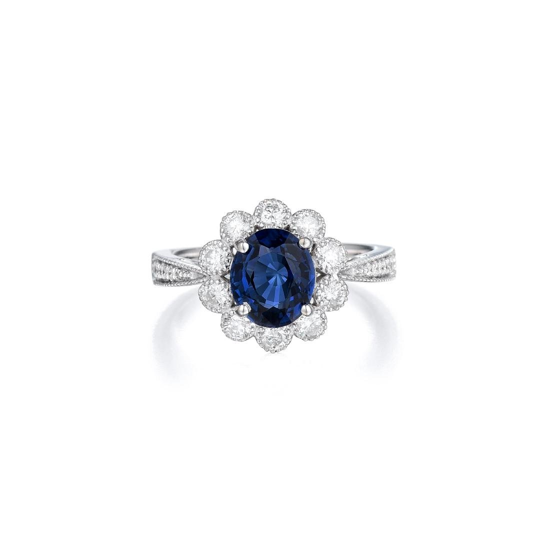 A 14K White Gold Spinel and Diamond Ring