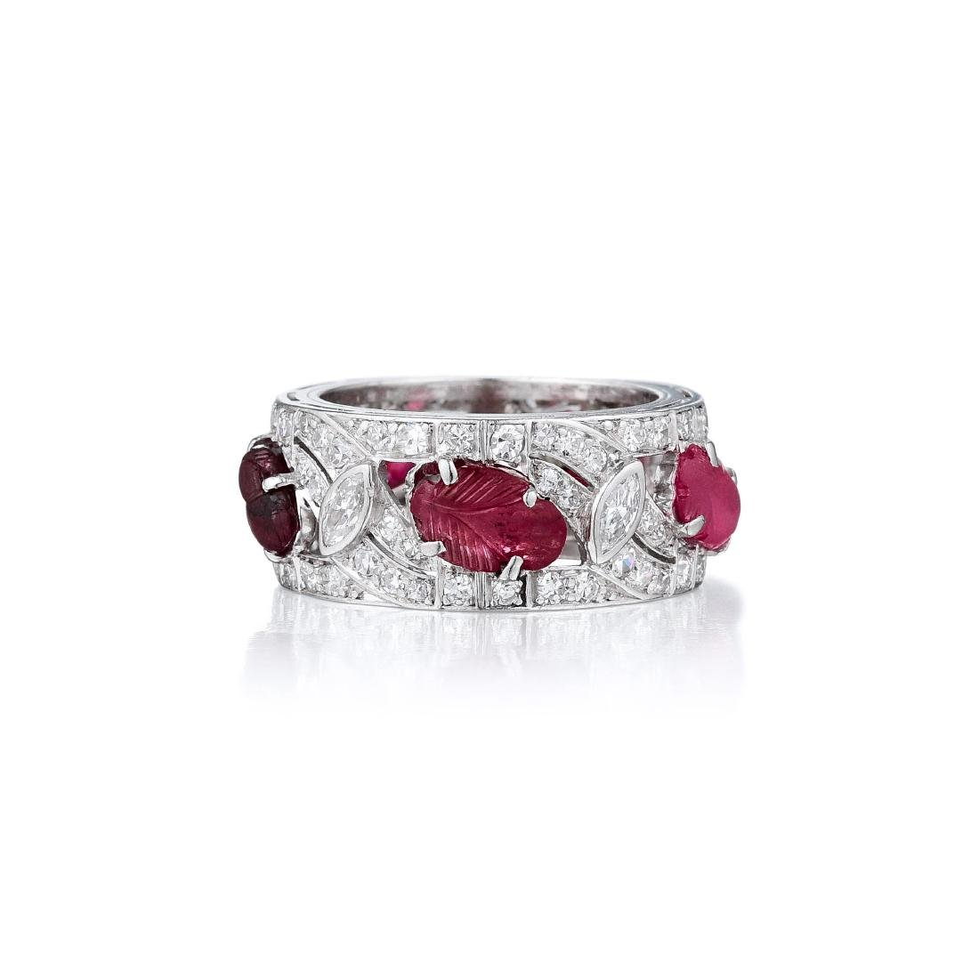 An Art Deco Platinum Ruby and Diamond Band