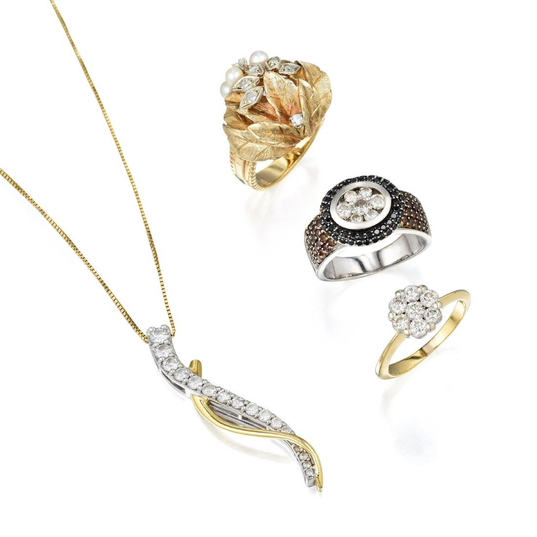 A Group of 14K Gold and Diamond Jewelry