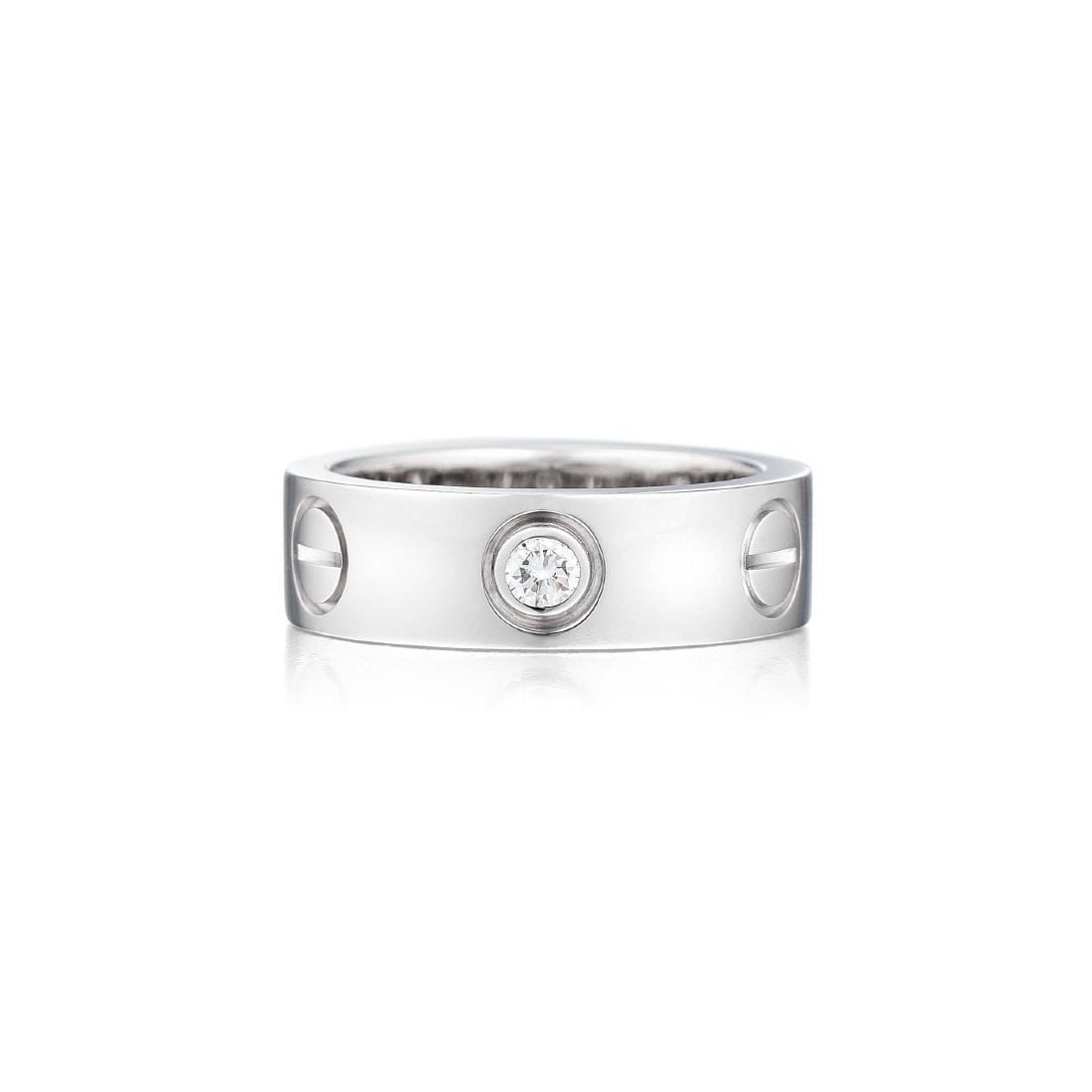 "Cartier ""Love"" 18K White Gold 3 Diamonds Ring"
