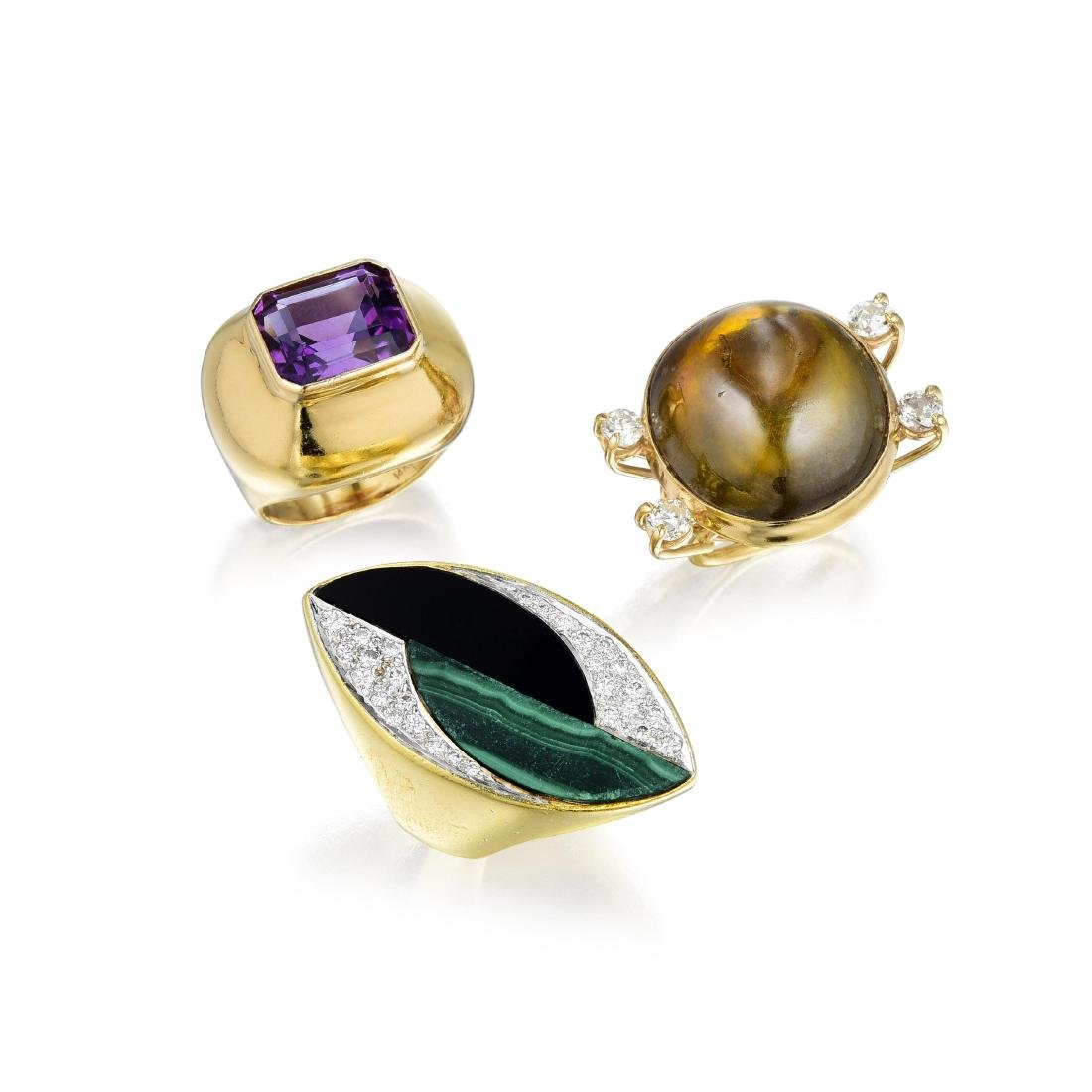 A Group of Gold Diamond and Colored Gemstone Rings