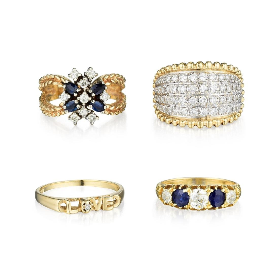 A Group of 14K Gold Diamond and Sapphire Rings