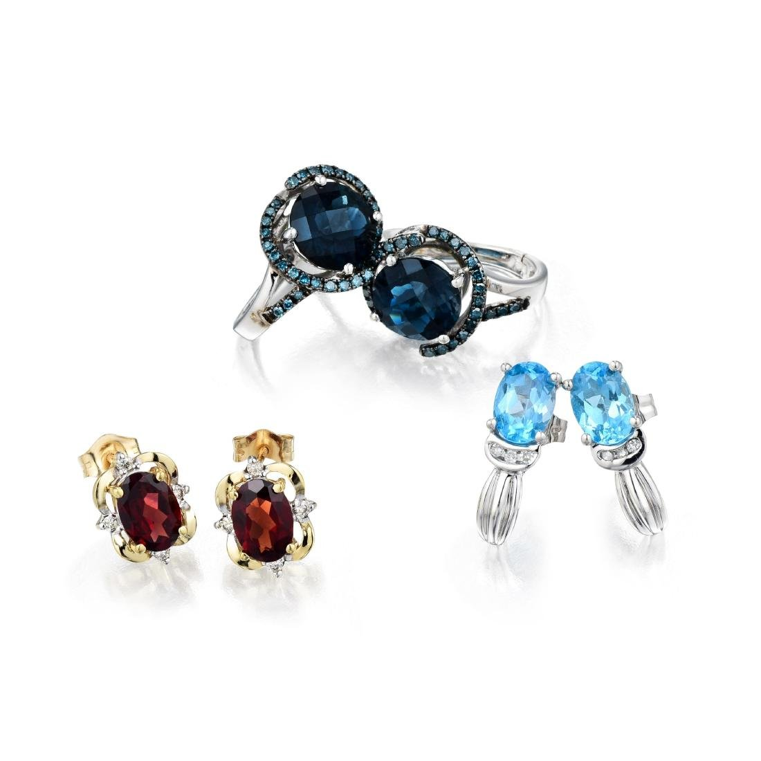A Group of 14K and 10K Gold Gemstone Earrings With Blue