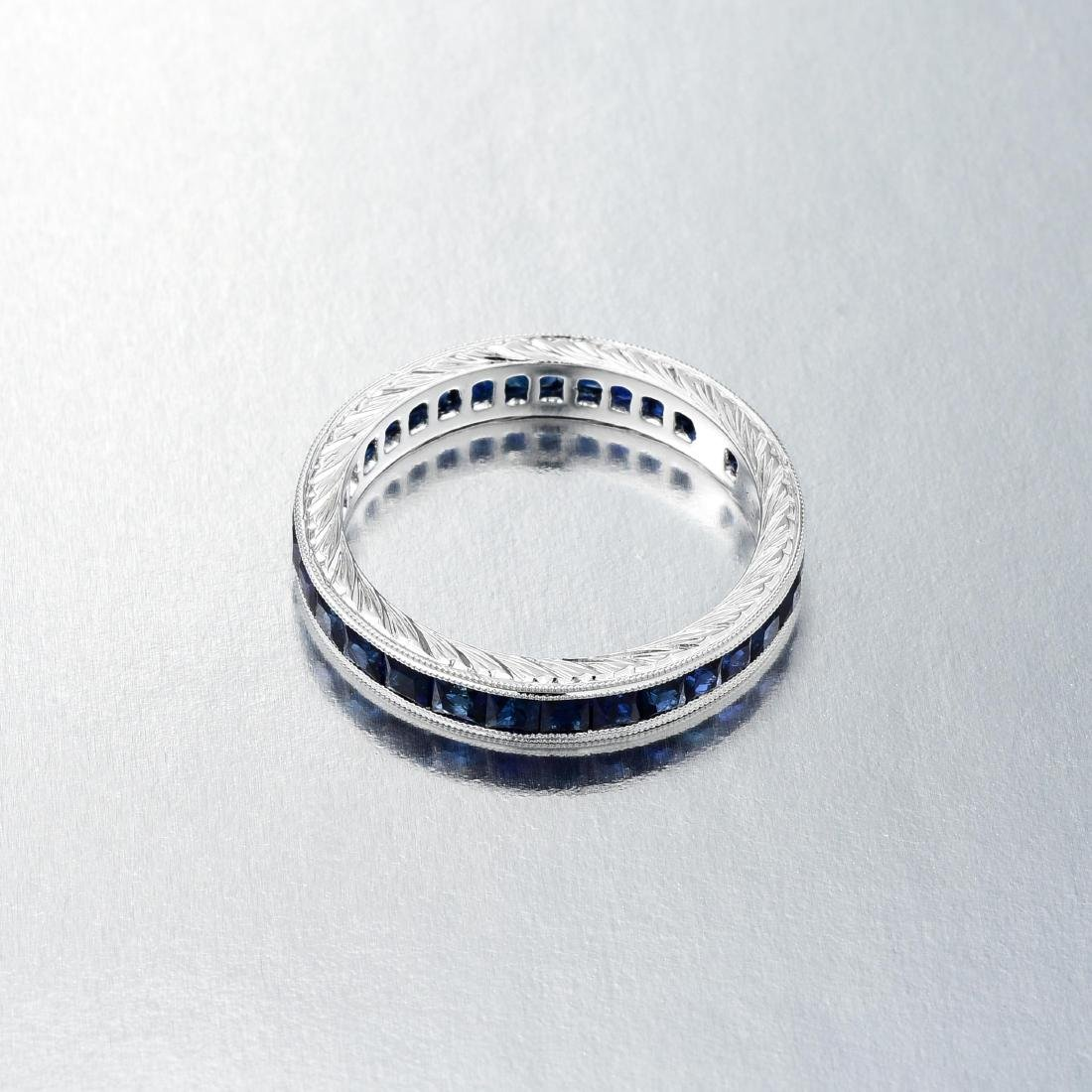 An 18K White Gold Sapphire Band - 2