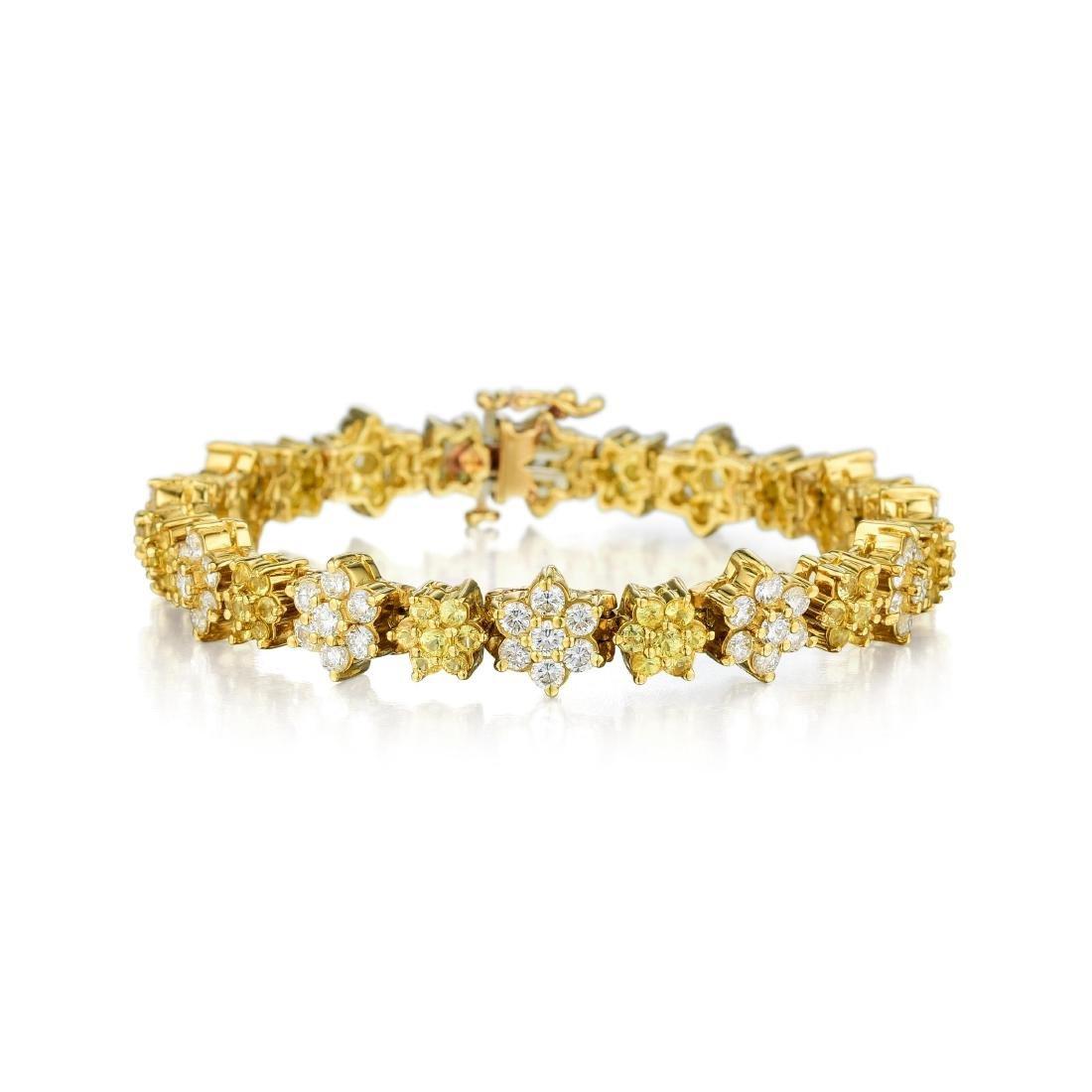 An 18K Gold Diamond and Yellow Sapphire Bracelet
