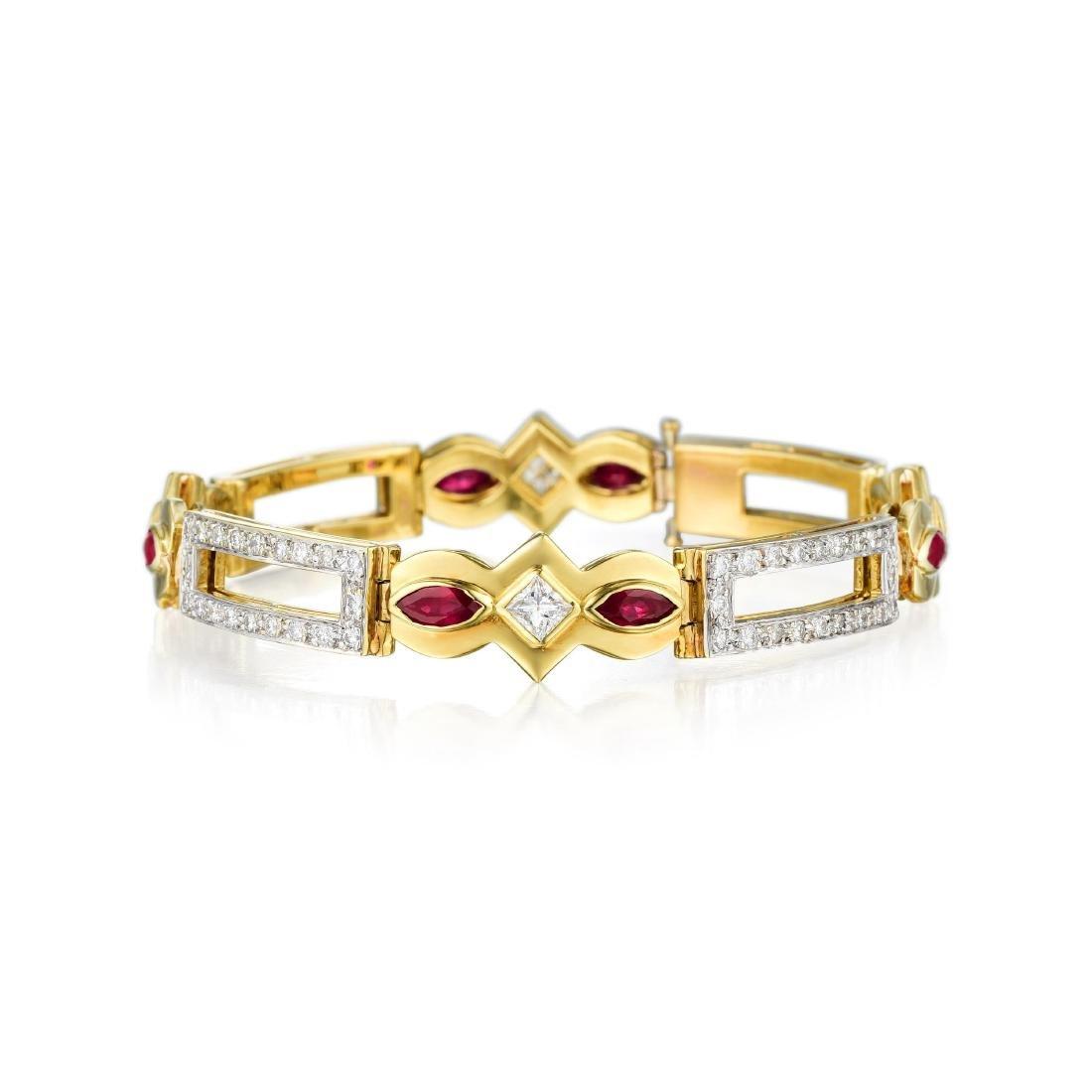 An 18K Gold Diamond and Ruby Bracelet