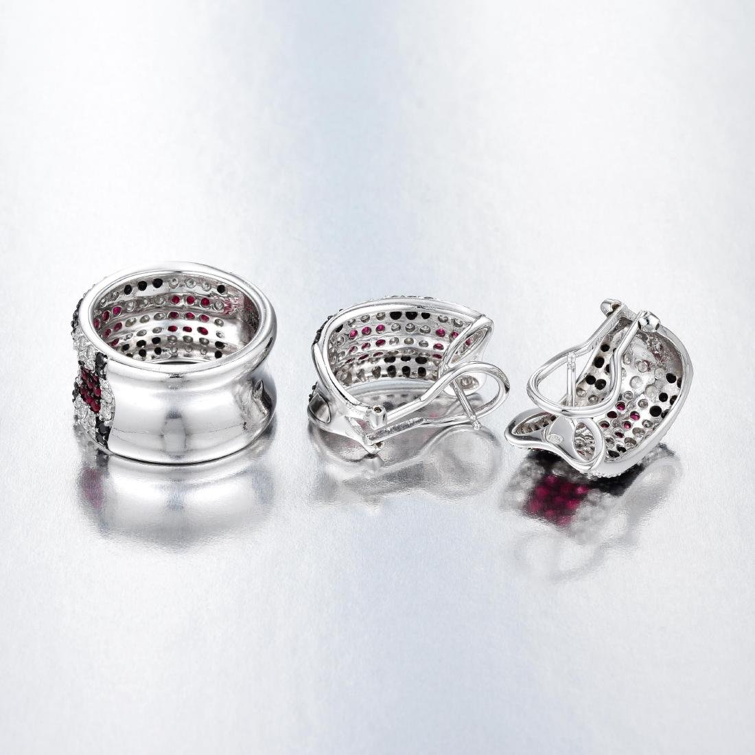 An 18K White Gold Diamond Ruby and Sapphire Set - 2