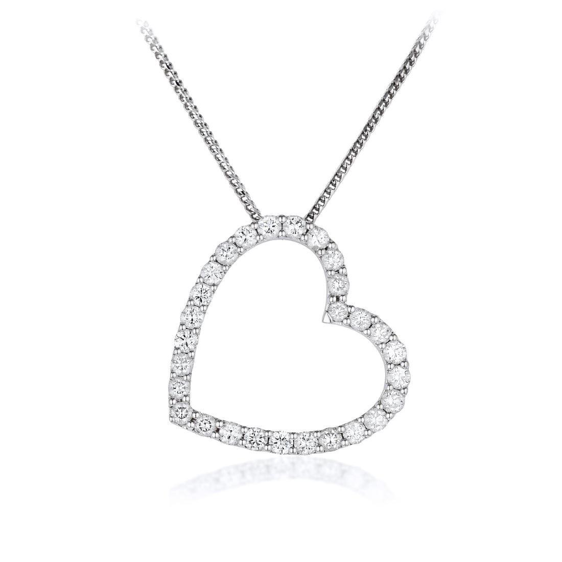 An 18K Gold Diamond Heart Pendant Necklace