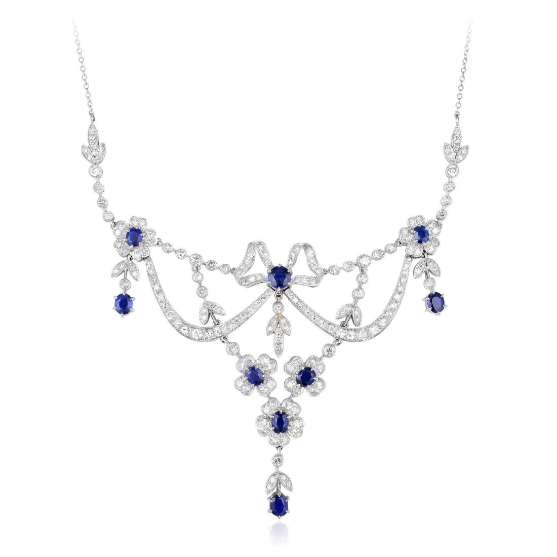 A Platinum Diamond and Sapphire Garland Necklace