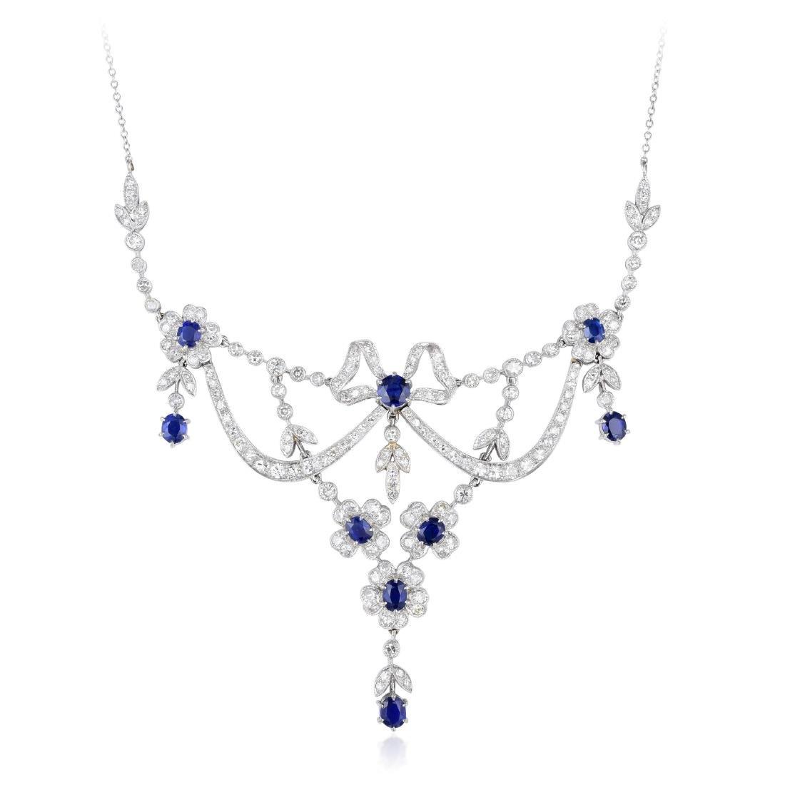 A Platinum Diamond and Sapphire Garland Necklace