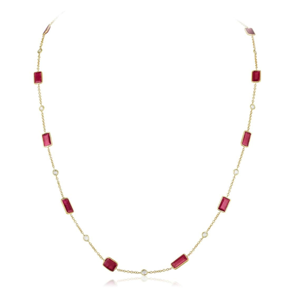 An 18K Gold Ruby and Diamond by the Yard Chain