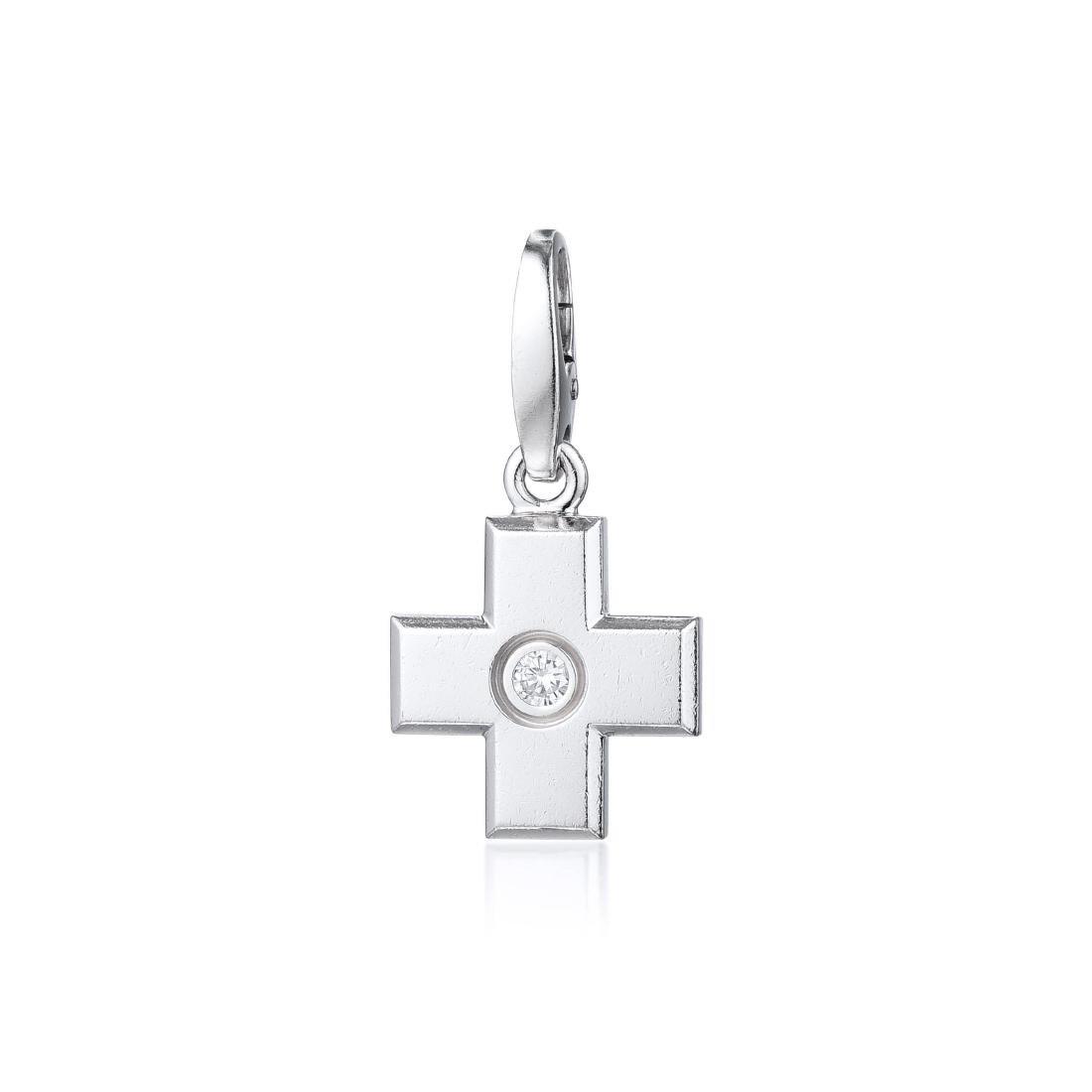 Cartier 18K White Gold and Diamond Cross Pendant