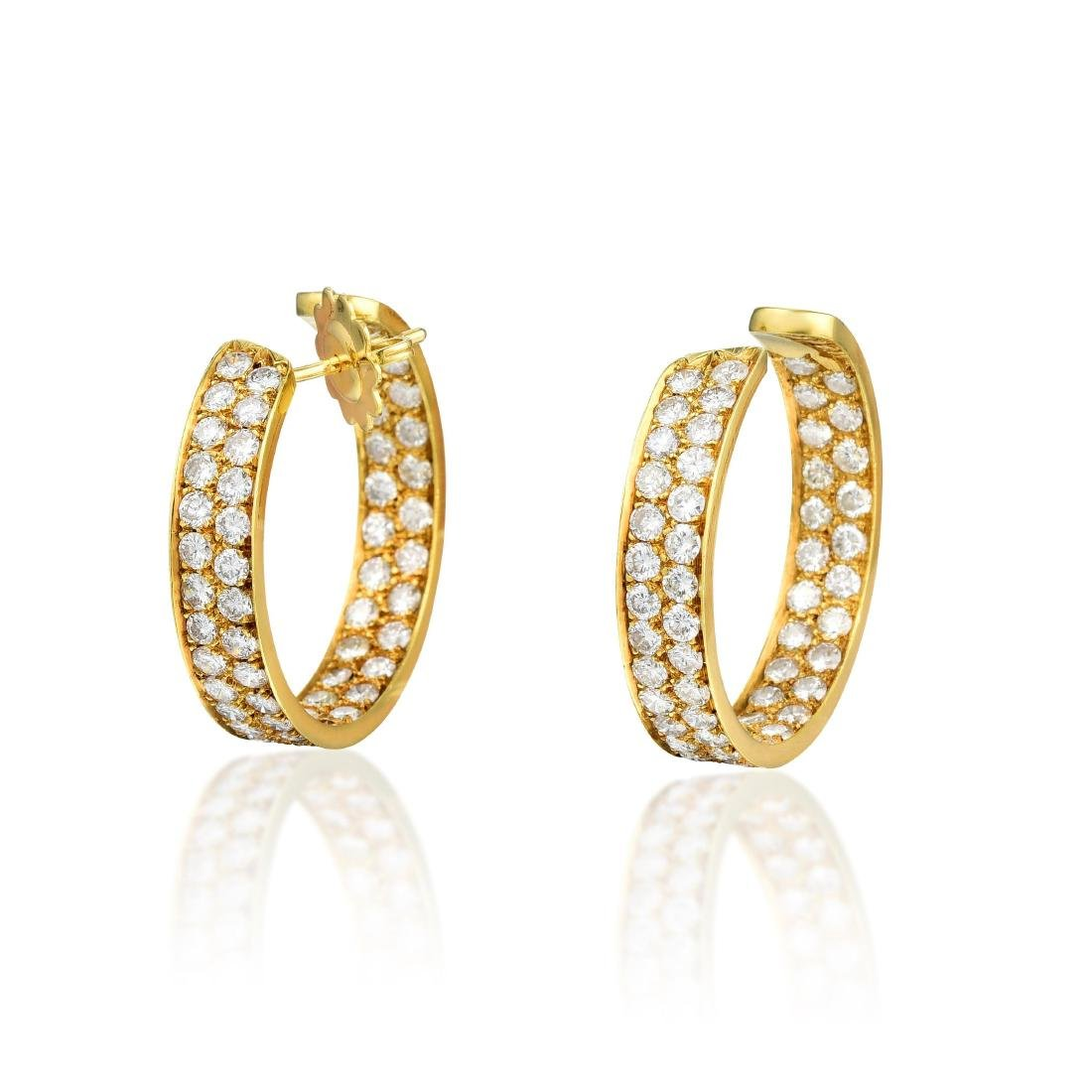 D'Aven 18K Gold Diamond Hoop Earrings