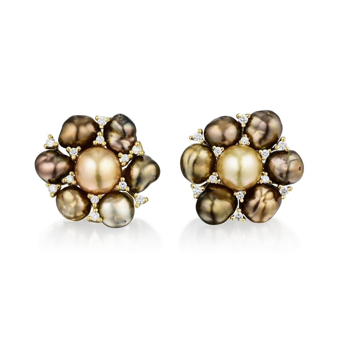 Yvel 18K Gold, Cultured Pearl and Diamond Earrings