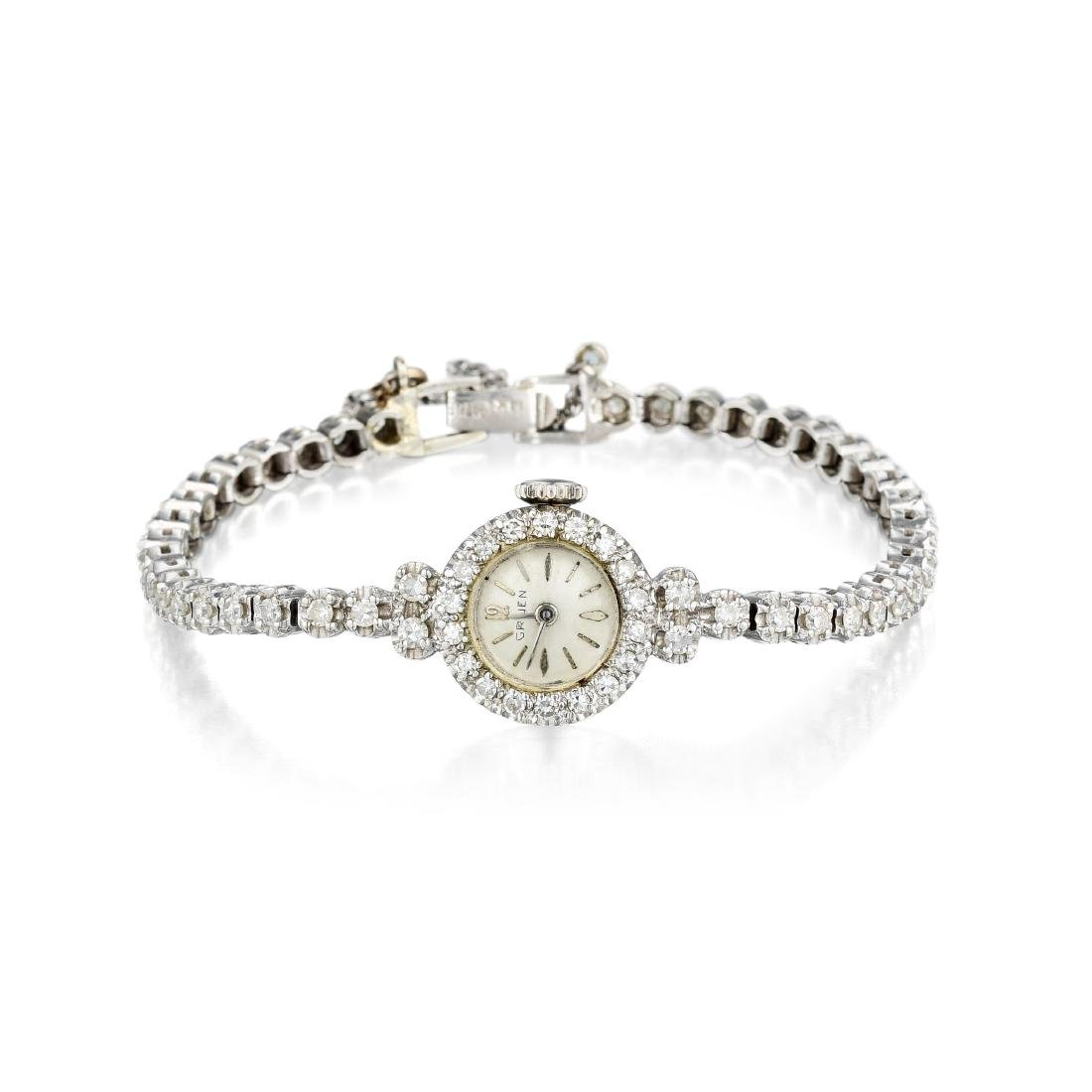 A 14K White Gold Diamond Ladies Watch