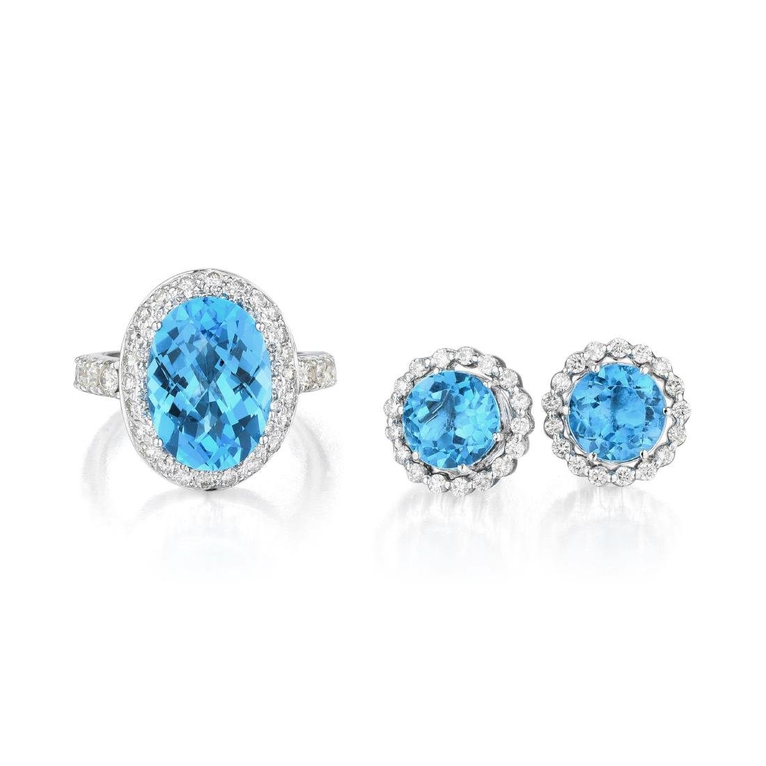 A Set of 18K White Gold, Topaz and Diamond Jewelry