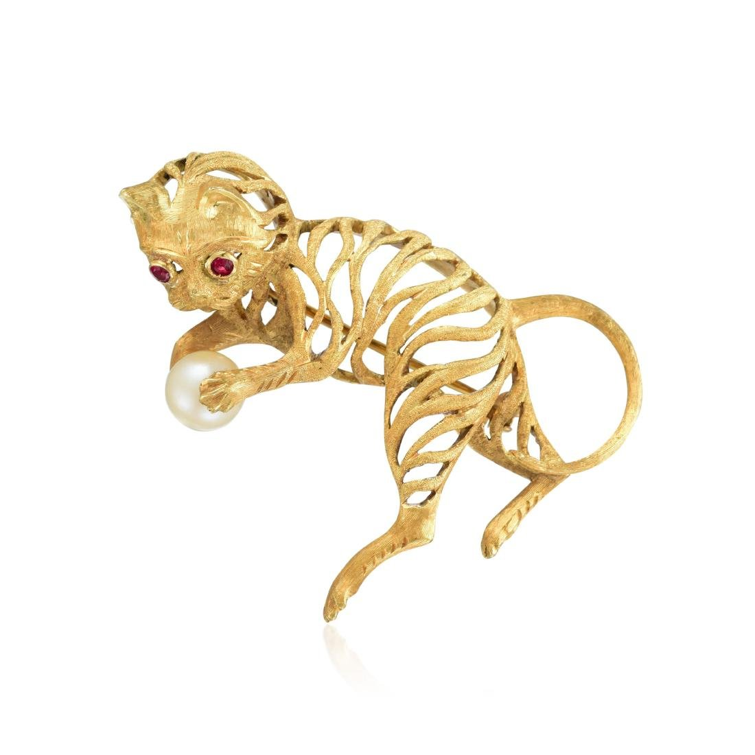 An 18K Gold, Pearl and Ruby Cat Pin