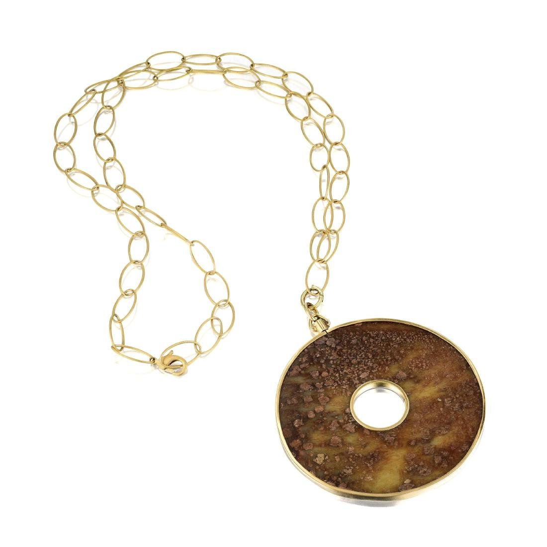 A 14K Gold and Jade Pendant Necklace - 2