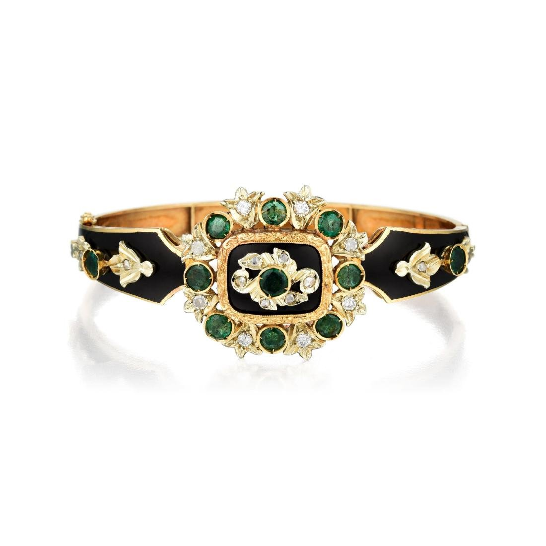 An 18K Gold, Diamond, Emerald and Enamel Bracelet