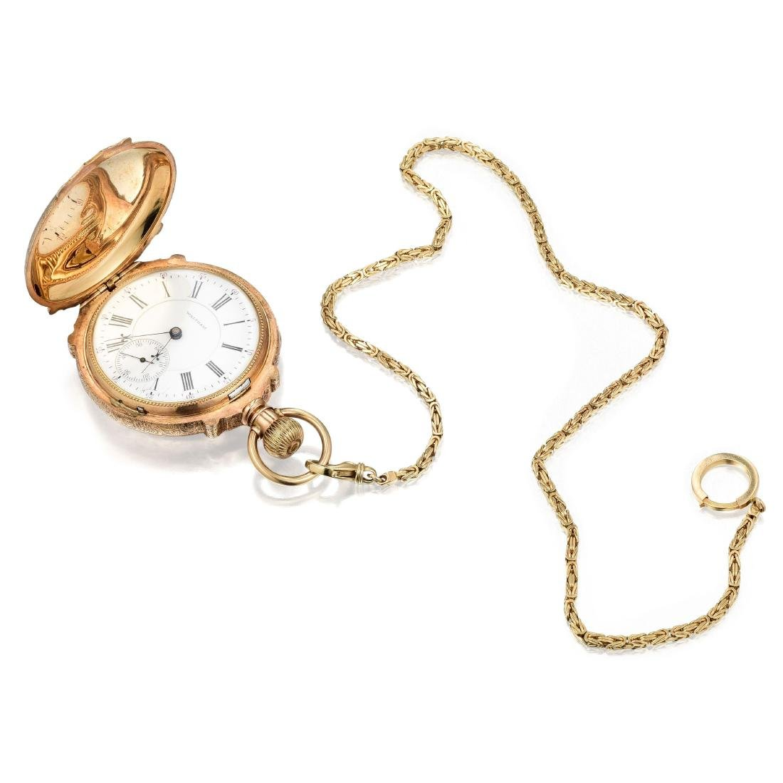 Waltham Antique Pocket Watch with 14K Gold Hunter Case
