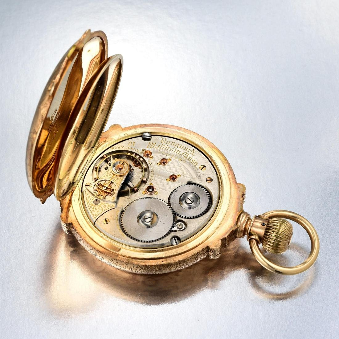 Waltham Antique Pocket Watch with 14K Gold Hunter Case - 4