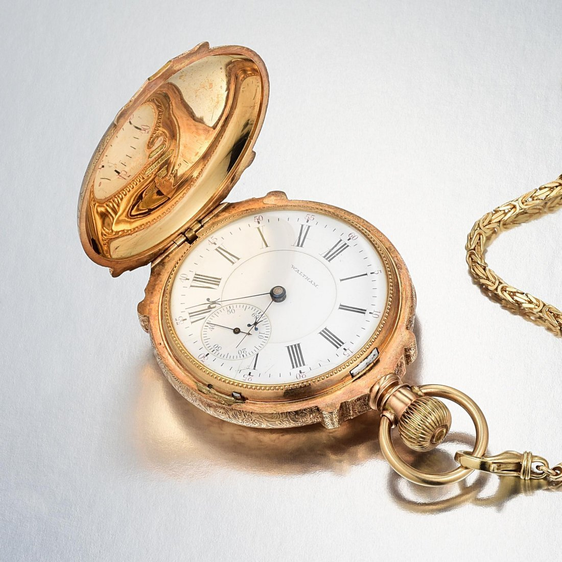 Waltham Antique Pocket Watch with 14K Gold Hunter Case - 6