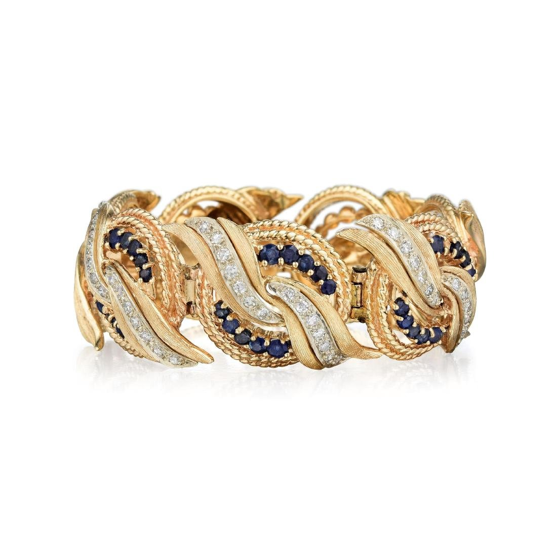 A 14K Gold, Sapphire and Diamond Bracelet