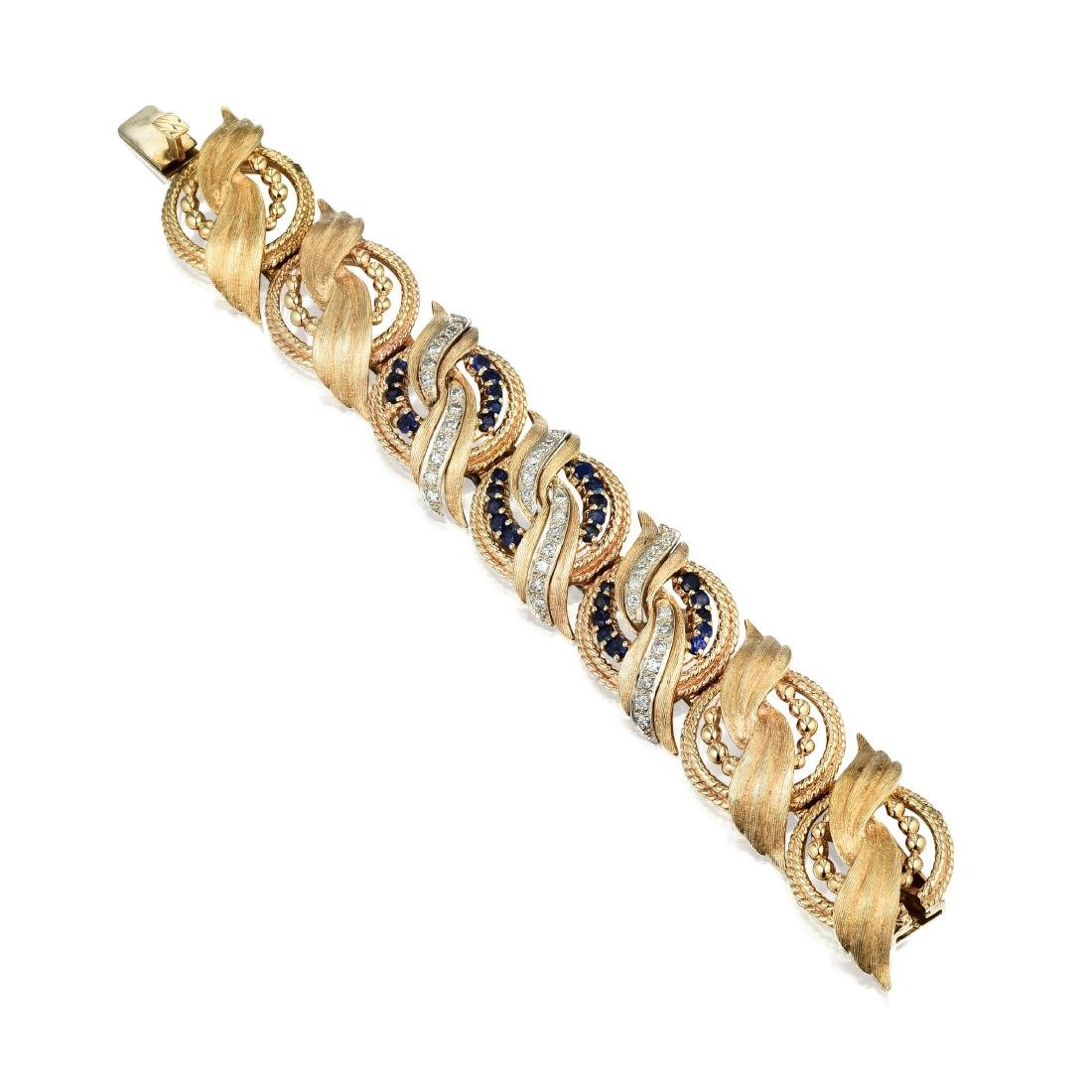 A 14K Gold, Sapphire and Diamond Bracelet - 2