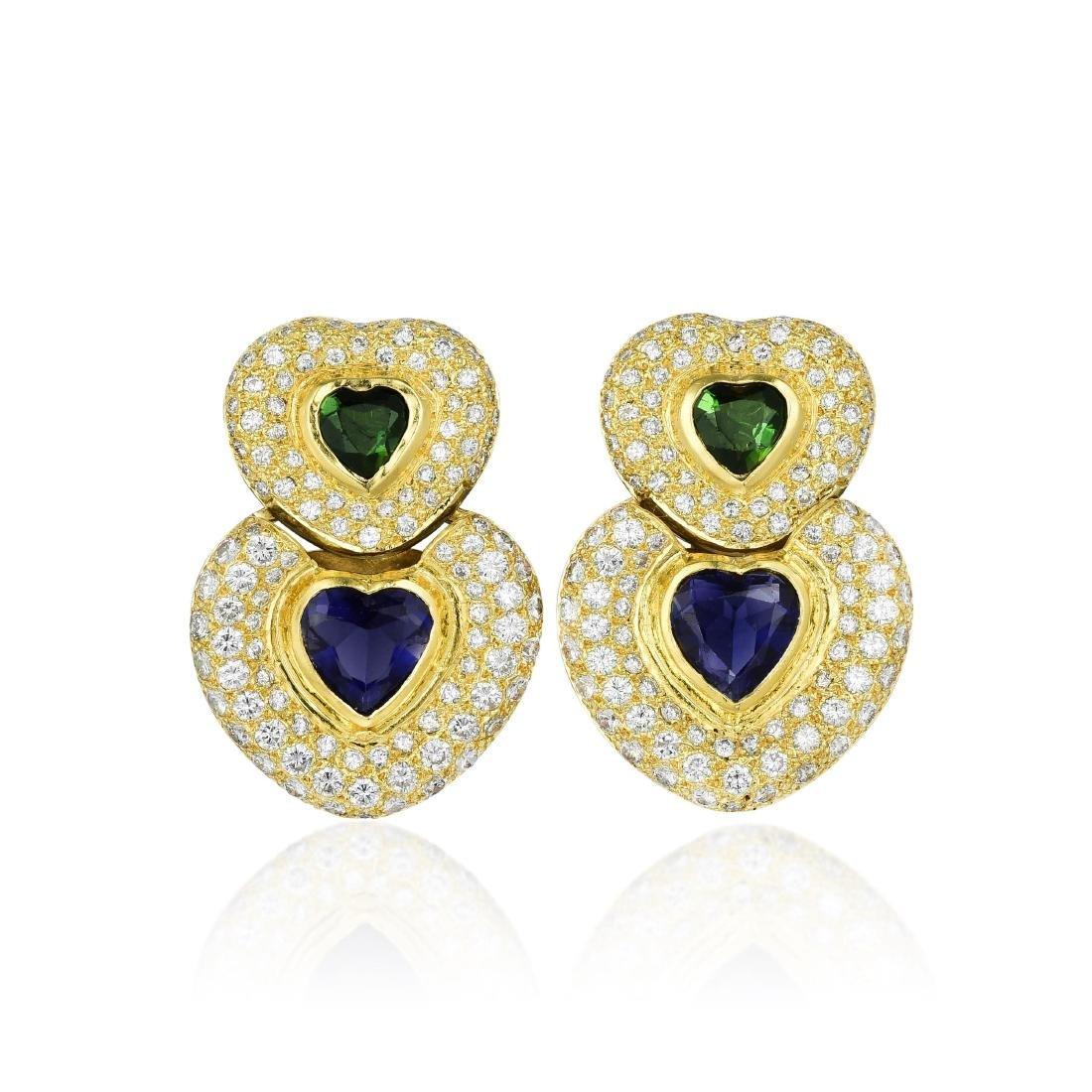 A Pair of 18K Gold Quartz and Diamond Earrings