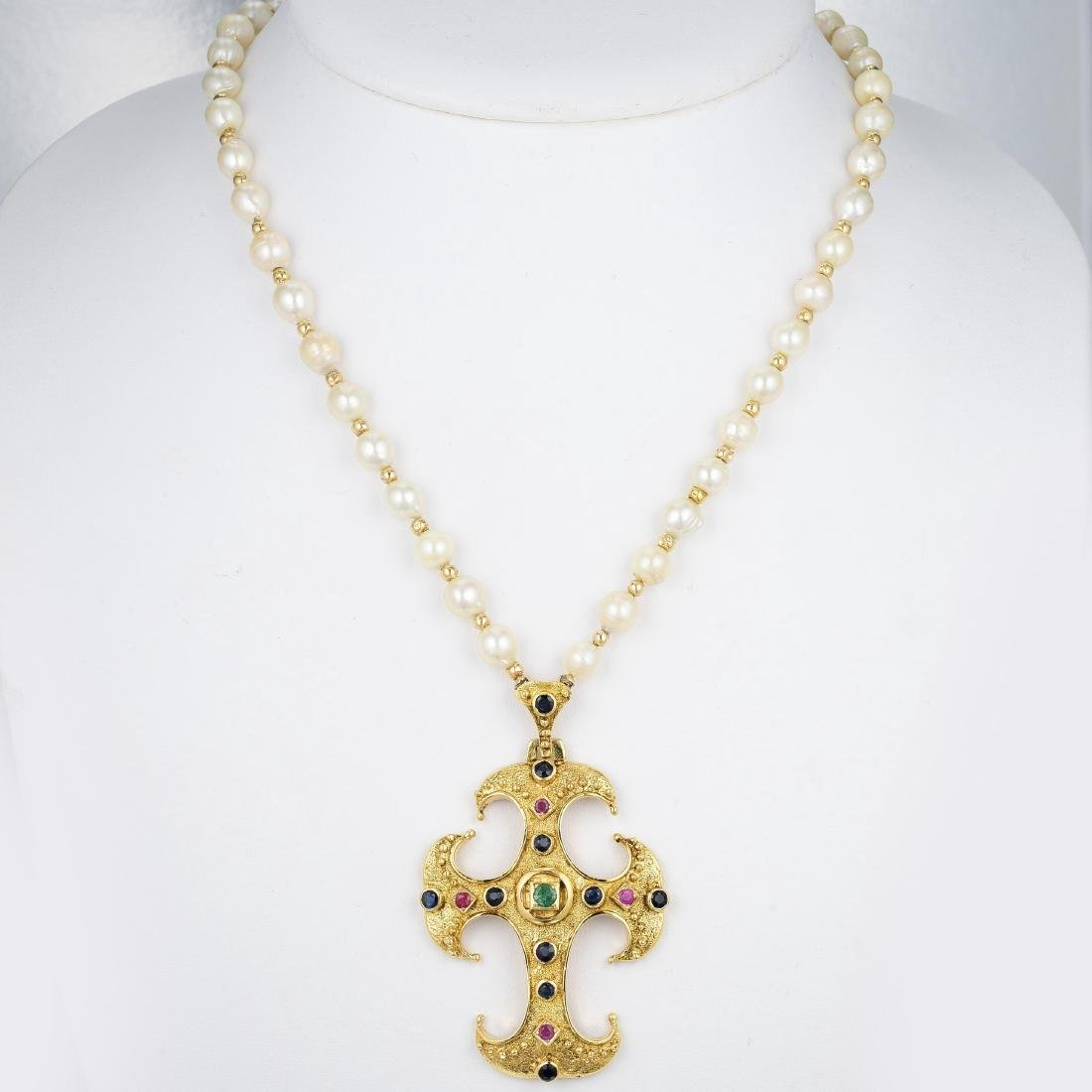 18K Gold, Cultured Pearl and Gemstone Necklace - 2