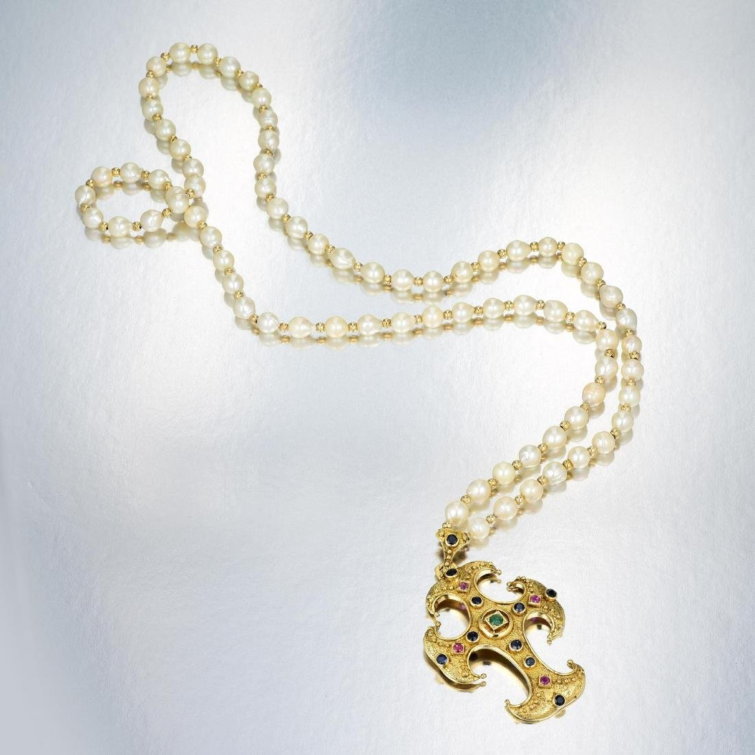 18K Gold, Cultured Pearl and Gemstone Necklace - 3