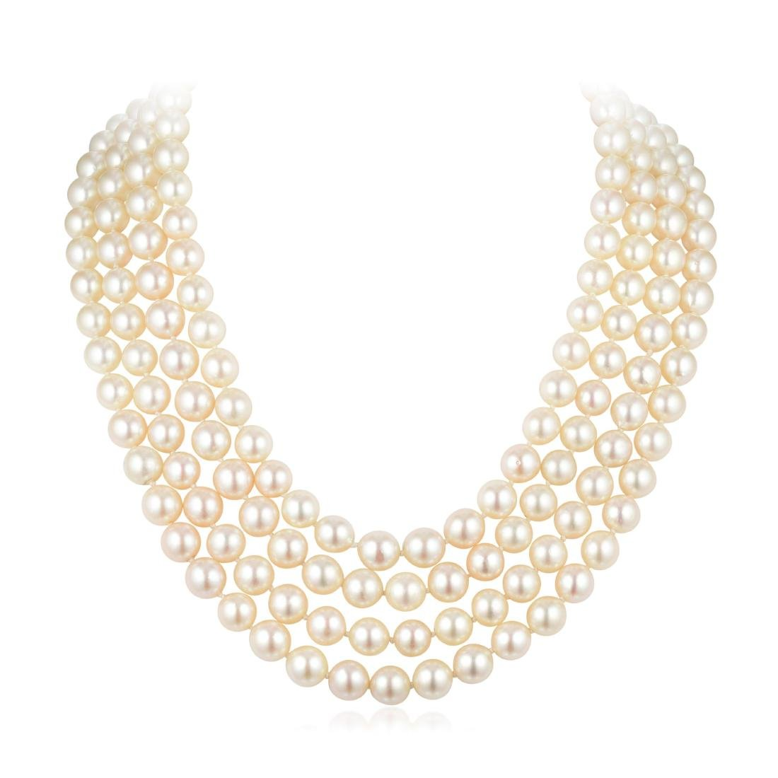 A Four-Strand Cultured Pearl Necklace with 18K White