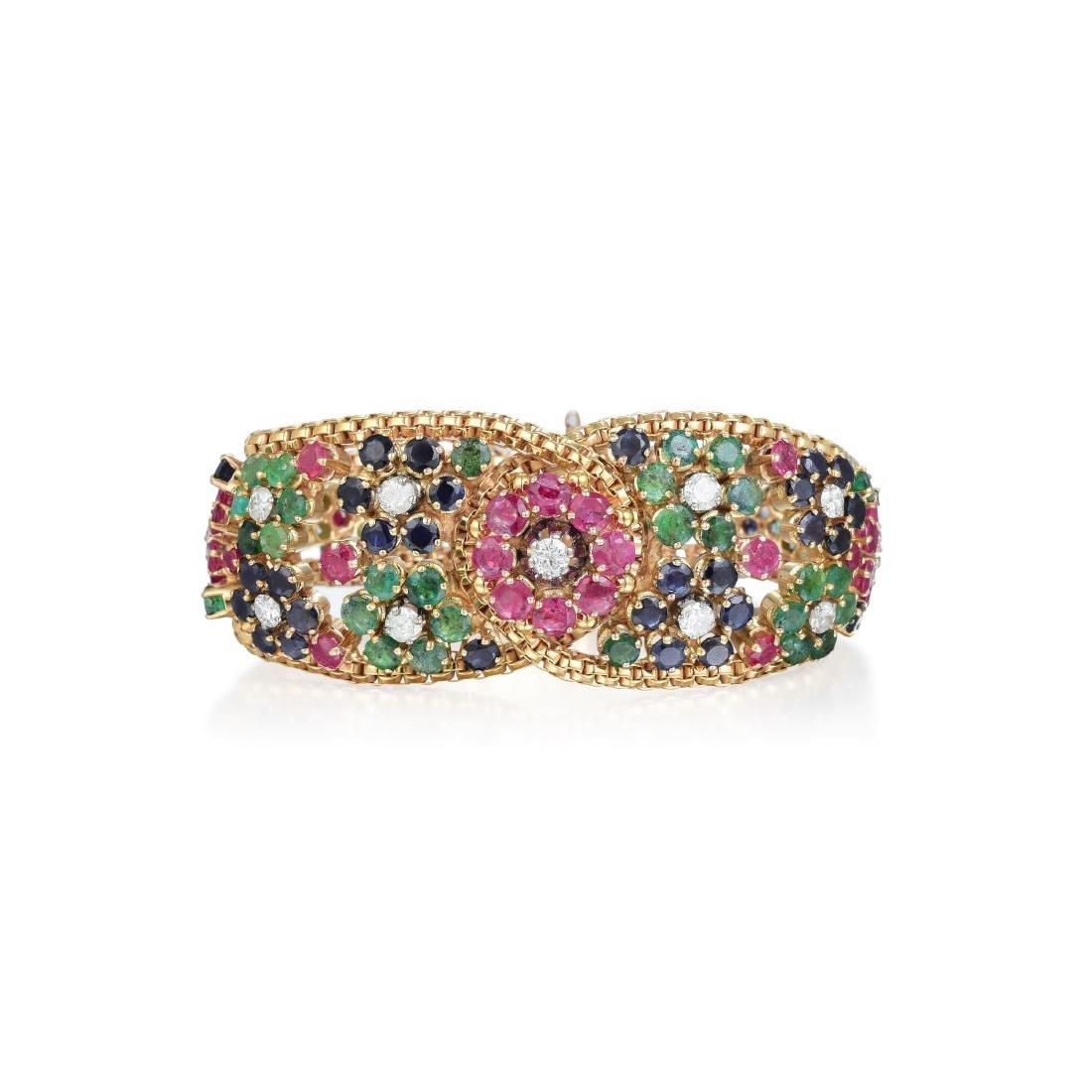 A 14K Gold Diamond, Ruby, Emerald and Sapphire Bracelet