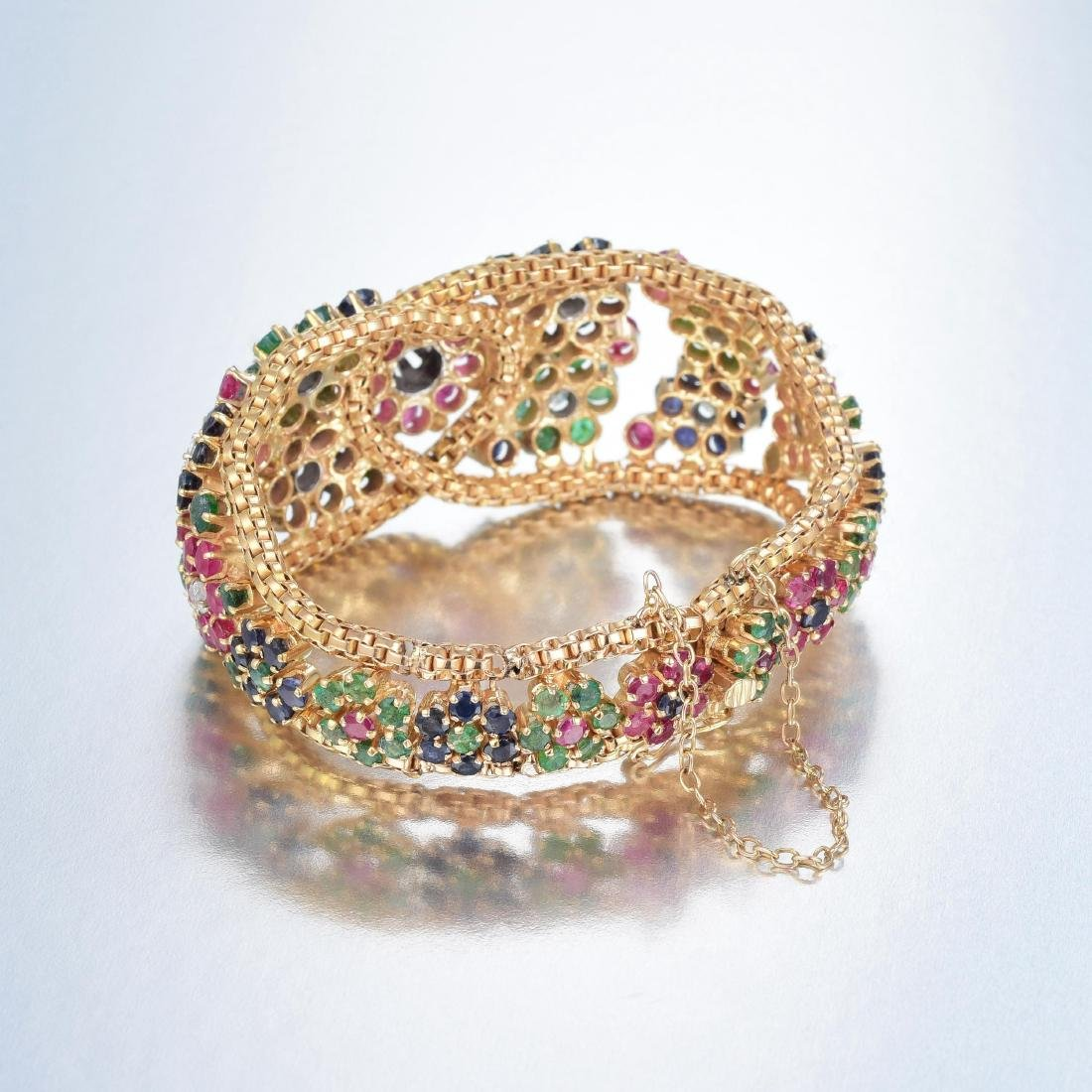 A 14K Gold Diamond, Ruby, Emerald and Sapphire Bracelet - 2