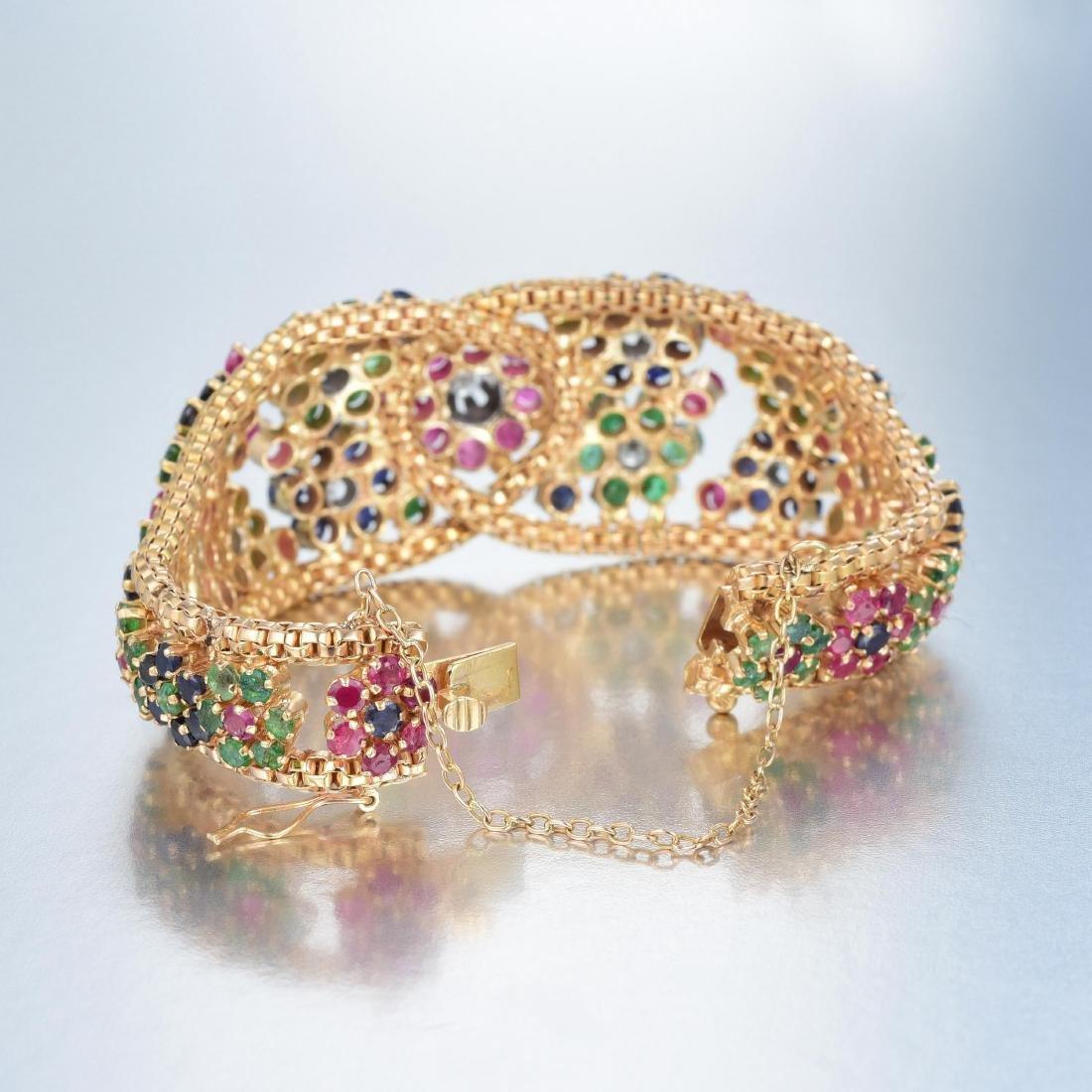 A 14K Gold Diamond, Ruby, Emerald and Sapphire Bracelet - 3