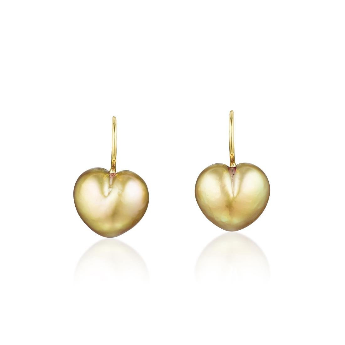 A Pair of 18K Gold Cultured Pearl Earrings