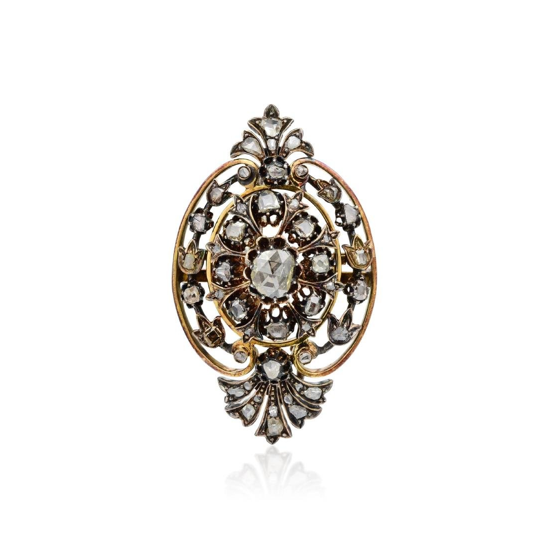 A Victorian Silver-topped Gold  Diamond Brooch /