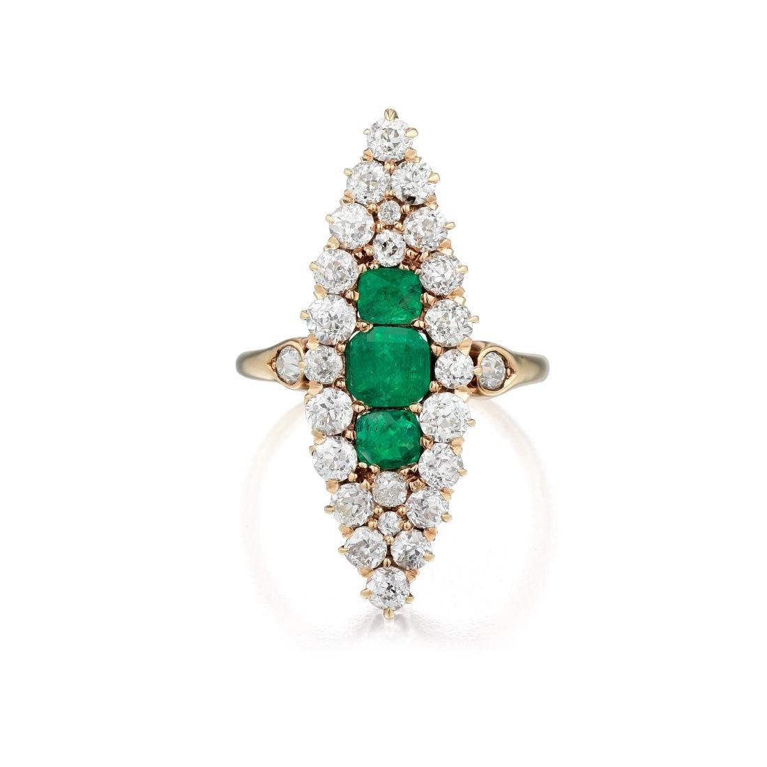 Antique 14K Gold Emerald and Diamond Ring
