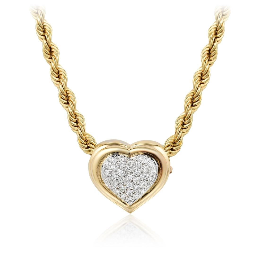 A 14K Gold Necklace with Diamond Pendant / Brooch
